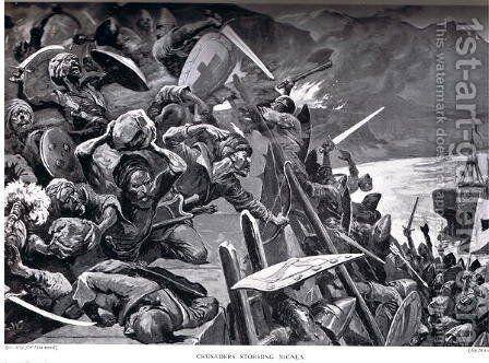 Crusaders Storming Nicaea, illustration from Hutchinsons History of the Nations by Stanley L. Wood - Reproduction Oil Painting