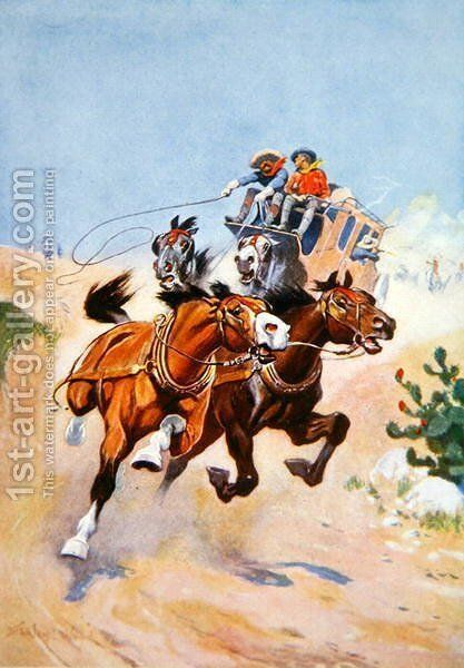 Stagecoach pursued by Indians by Stanley L. Wood - Reproduction Oil Painting