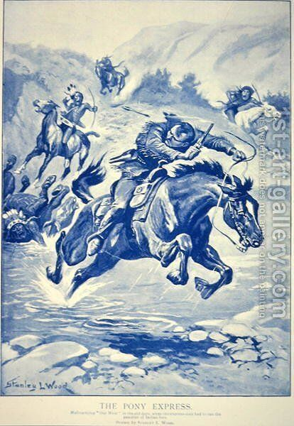 Pony Express Pursued By Indians Painting By Stanley L Wood