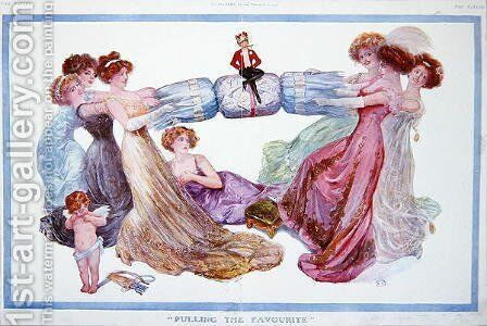 Pulling the Favourite, cartoon from Tatler magazine, 1st December 1909 by Basil Woodhouse - Reproduction Oil Painting