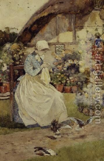 The Seamstress by David Woodlock - Reproduction Oil Painting