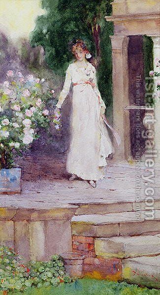 Lady on the Rose Terrace by David Woodlock - Reproduction Oil Painting
