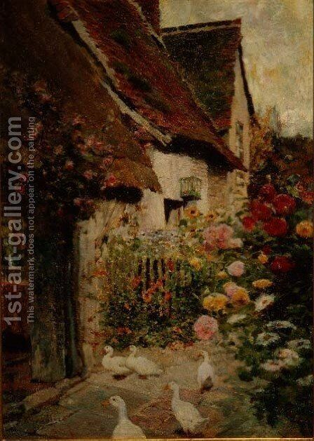 A Cottage Door by David Woodlock - Reproduction Oil Painting