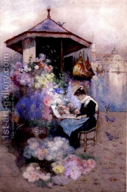 Flower Seller on the Riva, Venice by David Woodlock - Reproduction Oil Painting