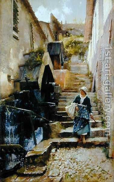 The Waterwheels at Savassa, 1886 by Henry Woods - Reproduction Oil Painting