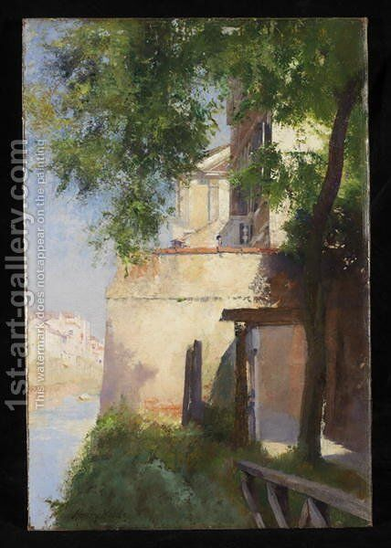 A View of Venice from a Terrac by Henry Woods - Reproduction Oil Painting