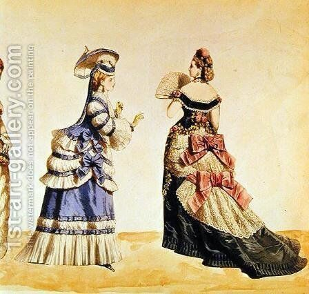 Fashion designs for women from the 1860's by Charles Frederick Worth - Reproduction Oil Painting