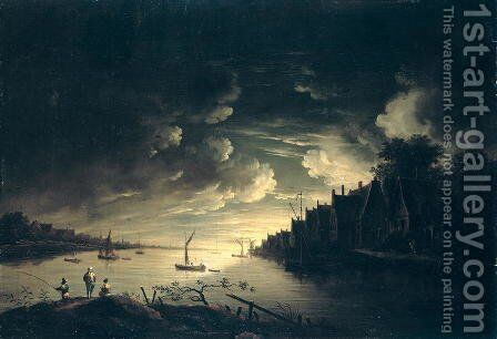 River Landscape by Moonlight by Jan Ludewick de Wouters - Reproduction Oil Painting