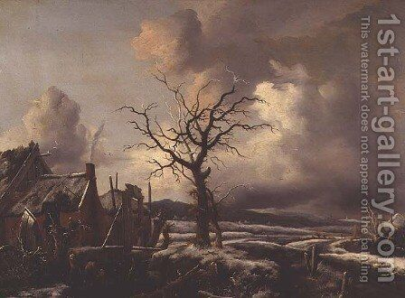 A Winter Landscape by Jan Wouwerman - Reproduction Oil Painting