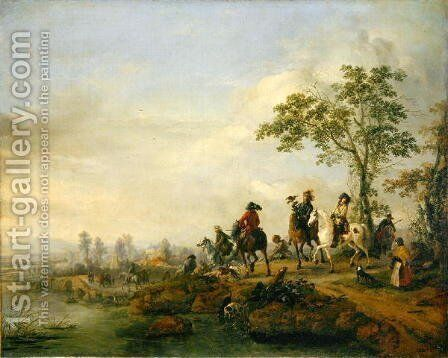 Falconers Return Home from the Hunt, 1658-60 by Philips Wouwerman - Reproduction Oil Painting