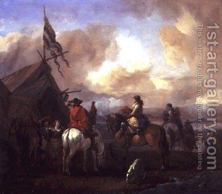 Cavalrymen in a Military Encampment by Philips Wouwerman - Reproduction Oil Painting