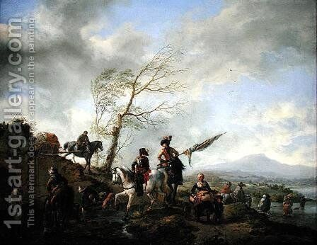 Landscape with Soldiers Watering their Horses by Philips Wouwerman - Reproduction Oil Painting