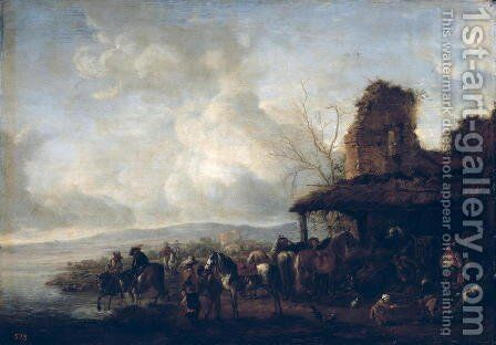 The Stable of a Dilapidated House, c.1640 by Philips Wouwerman - Reproduction Oil Painting