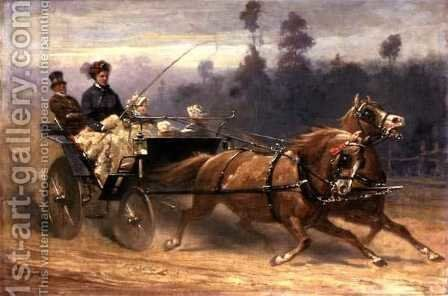 Madame Celestine Nichols Driving in Richmond Park with Her Grandchildren, 1879 by Adam Wray - Reproduction Oil Painting