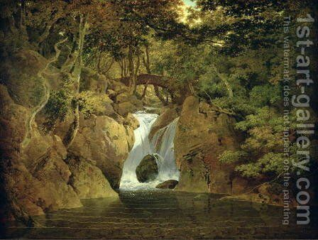 Rydal Waterfall, 1795 by Josepf Wright Of Derby - Reproduction Oil Painting