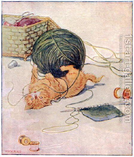 Wee Kitty thinks, I love to play..., illustration from Cuddly Kitty and Busy Bunny, by Clara G. Dennis, published by Thomas Nelson and Sons, Ltd., 1926 by Alan Wright - Reproduction Oil Painting