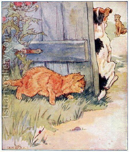 Sly Kitty thinks, A Joke Ill Play..., illustration from 'Cuddly Kitty and Busy Bunny', by Clara G. Dennis, published by Thomas Nelson and Sons, Ltd., 1926 by Alan Wright - Reproduction Oil Painting