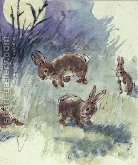 Illustration from the Busy Bunny Book by Alan Wright - Reproduction Oil Painting