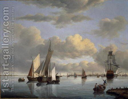 Shipping on the Ijsselmeer with Amsterdam in the distance by Jan Wubbels - Reproduction Oil Painting