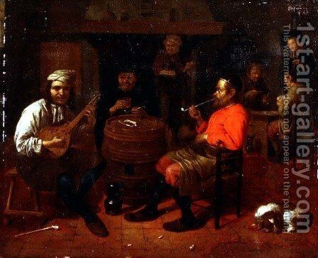 A Tavern Interior with Mandolin Player by Mathijs Wulfraet - Reproduction Oil Painting