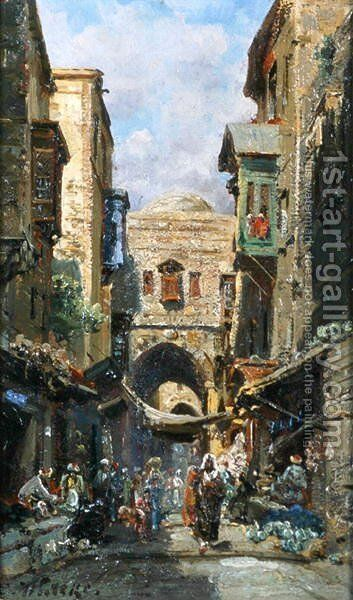 The street of David in Jerusalem, c.1890 by Carl Wuttke - Reproduction Oil Painting