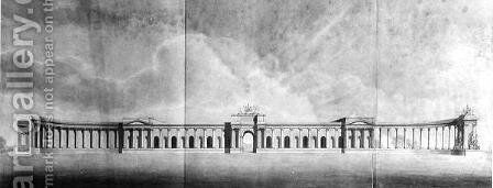 Perspective of Offices seen from the Great Court, 1815 by Benjamin Dean Wyatt - Reproduction Oil Painting