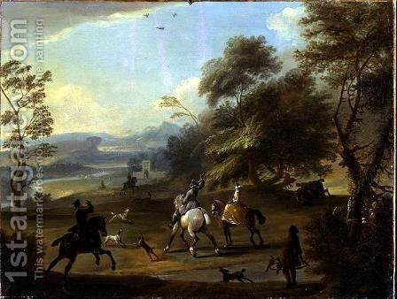 A Hawking Party, c.1690 by Jan Wyck - Reproduction Oil Painting