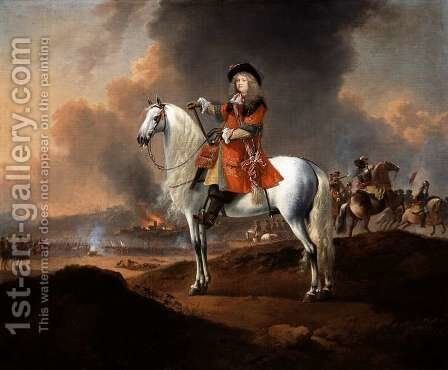Lieutenant-Colonel Randolph Egerton MP (d.1681) of the Kings Troop of Horse Guards, c.1672 by Jan Wyck - Reproduction Oil Painting