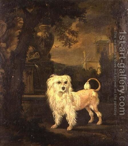 A Lowchen By A Fountain by Jan Wyck - Reproduction Oil Painting