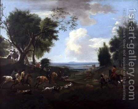 Hunting Scene 2 by Jan Wyck - Reproduction Oil Painting