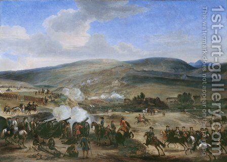 The Battle of the Boyne on 12th July 1690, 1690 by Jan Wyck - Reproduction Oil Painting