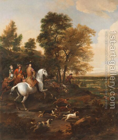Hare Hunting, c.1690 by Jan Wyck - Reproduction Oil Painting