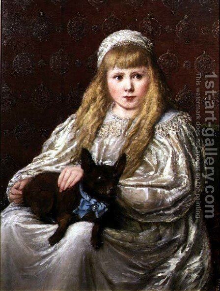 Portrait of a Young Girl with a Dog by Charlotte Wylie - Reproduction Oil Painting