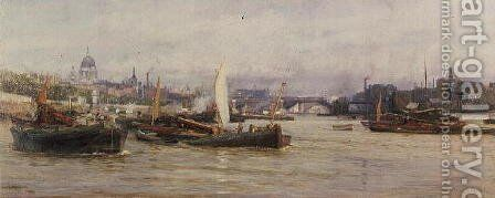 Shipping on the Thames by Charles William Wyllie - Reproduction Oil Painting