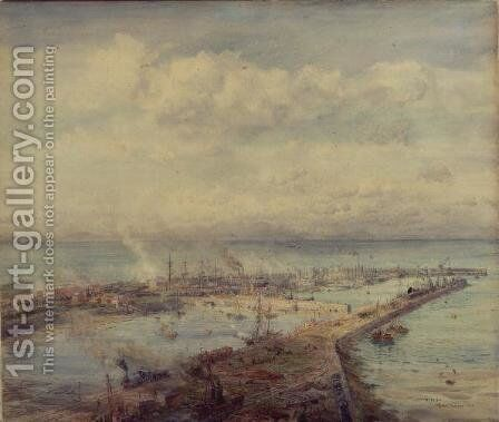 Troon Harbour, Cornwall by Charles William Wyllie - Reproduction Oil Painting