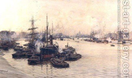 The Port of London by Charles William Wyllie - Reproduction Oil Painting
