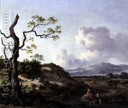 A Landscape with Travellers by Jan Wynants - Reproduction Oil Painting