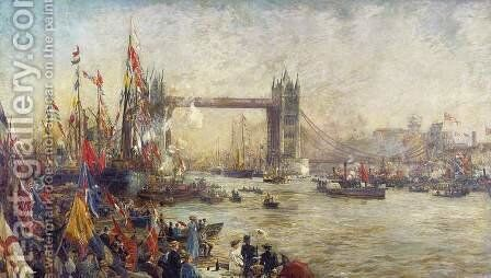 Opening of Tower Bridge, 1894 by William Lionel Wyllie - Reproduction Oil Painting