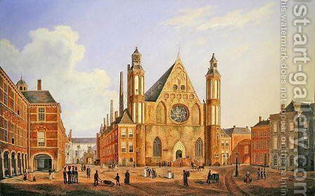 The Binnenhof in the Hague with a View of the Ridderzaal with Soldiers and other Figures in the Courtyard by Augustus Wynantsz - Reproduction Oil Painting