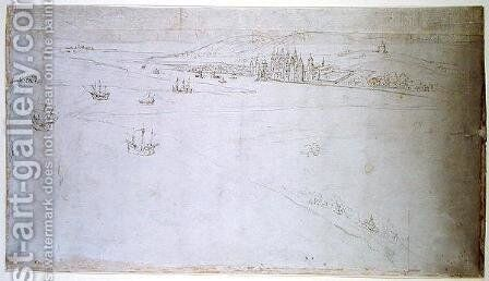 Greenwich, from The Panorama of London, c.1544 by Anthonis van den Wyngaerde - Reproduction Oil Painting
