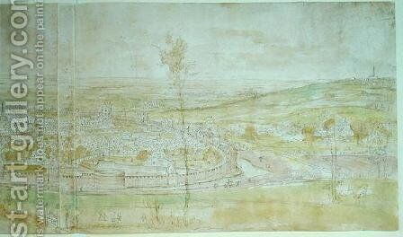 Panoramic View of Brussels by Anthonis van den Wyngaerde - Reproduction Oil Painting