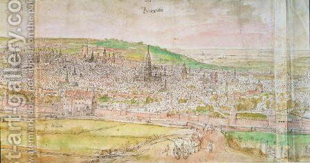 Panoramic View of Brussels 2 by Anthonis van den Wyngaerde - Reproduction Oil Painting