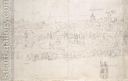 St. Paul's Cathedral, from The Panorama of London, c.1544 by Anthonis van den Wyngaerde - Reproduction Oil Painting
