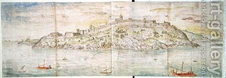 Panoramic View of Tarragona from the Sea by Anthonis van den Wyngaerde - Reproduction Oil Painting