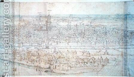 View of Utrecht by Anthonis van den Wyngaerde - Reproduction Oil Painting
