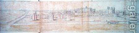 Hampton Court Palace from the North, from The Panorama of London, c.1544 by Anthonis van den Wyngaerde - Reproduction Oil Painting