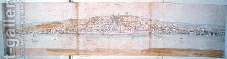 Greenwich Palace from the North Bank of the Thames, from The Panorama of London, c.1544 by Anthonis van den Wyngaerde - Reproduction Oil Painting