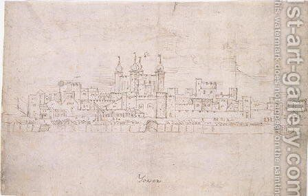 The Tower of London, from The Panorama of London, c.1544 2 by Anthonis van den Wyngaerde - Reproduction Oil Painting