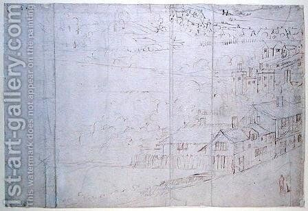 Bankside, from The Panorama of London, c.1544 by Anthonis van den Wyngaerde - Reproduction Oil Painting
