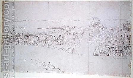 Durham House to Barnards Castle, from The Panorama of London, c.1544 by Anthonis van den Wyngaerde - Reproduction Oil Painting